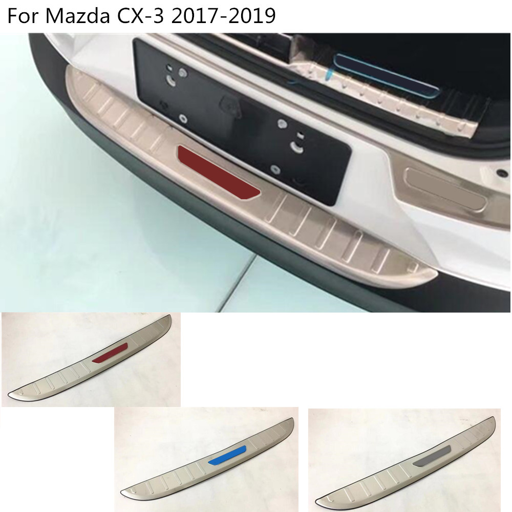 car external rear bumper Protect trunk trim cover Stainless Steel plate pedal 1pcs For Mazda CX-3 CX3 2017 2018 2019 high quality stainless steel accessories rear bumper protector sill plate cover trunk trim for mazda cx 5 cx5 2017 car styling