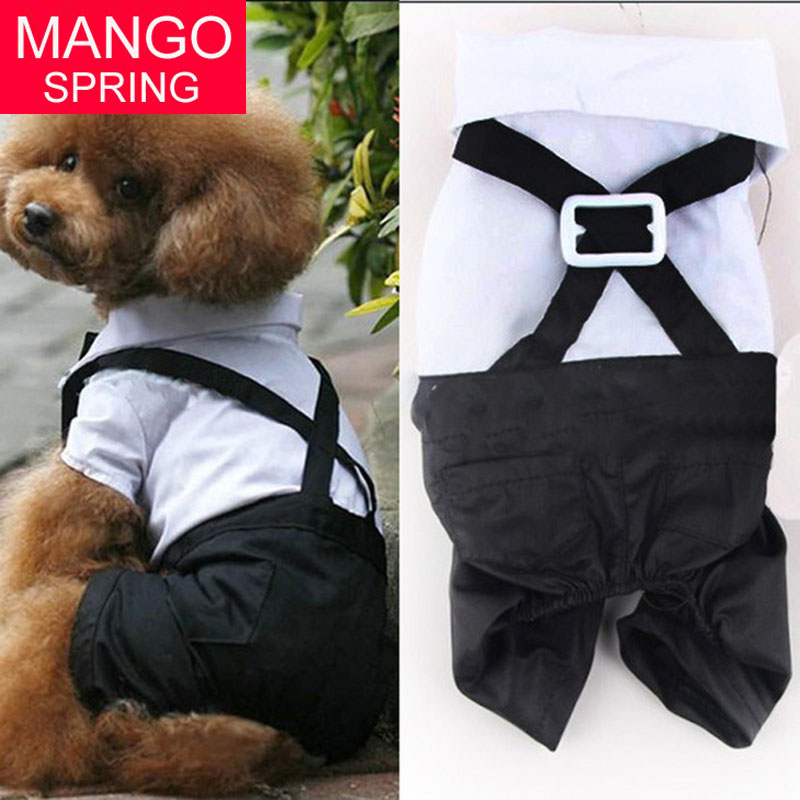 Factory Price! Pet Dog Cat Clothing Prince Tuxedo Bow Tie Suit Puppy Costume Jumpsuit Coat S-XL