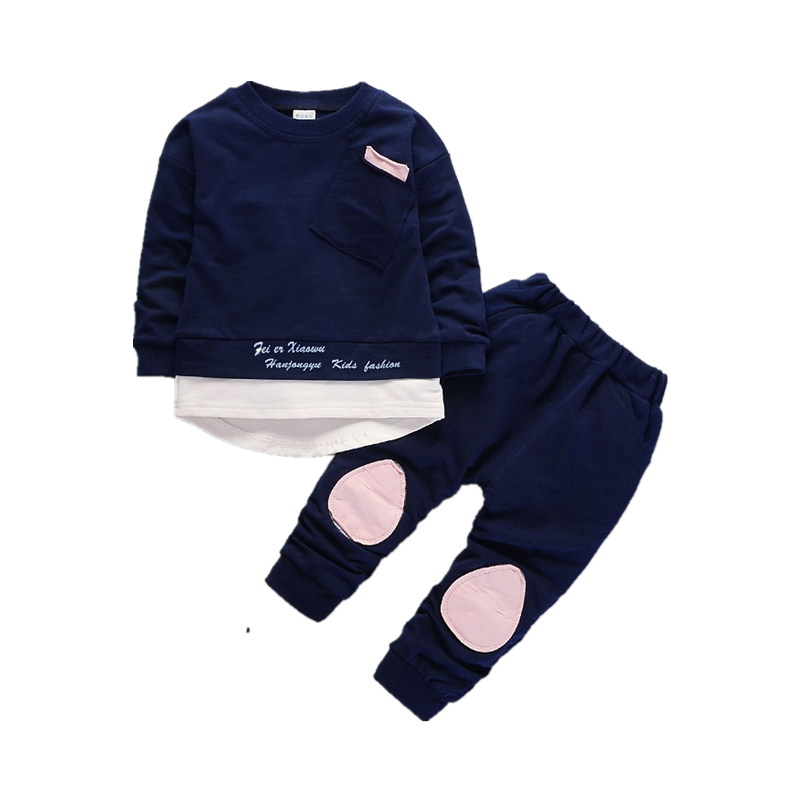Autumn Children Boys Girls Fashion Clothes Baby Long Sleeve T-shirt Pants 2pcs Suits Kids Clothing Sets Toddler Brand Tracksuits 2018 new girls flowers lace 3pcs clothes sets brand children s clothing kids coat t shirt pants suits baby roupas de bebe menina