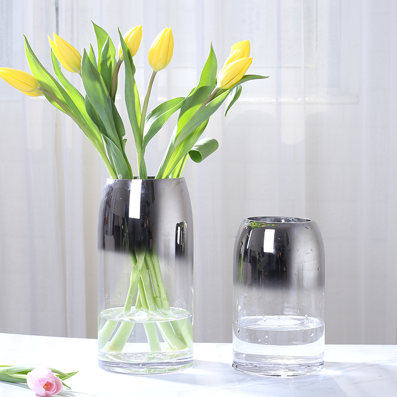 Creative Gray Glass vase Transparent glass terrarium Decoration Crafts flower vases for weddings home decoration accessories in Vases from Home Garden