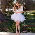 Verão saia de babados estilo personalizado a line acima do joelho curto mini tule tutu saia mulheres saias casuais branco puro