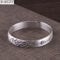Handmade 100% 999 Silver Lucky Symbol Bracelet Pure Silver Tibetan Six Words Bracelet Buddhist Vajra Dorje Bracelet