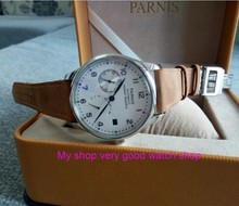 43mm PARNIS White dial power reserve Automatic Self-Wind Mechanical movement men's watch Folding Clasp with Safety 15