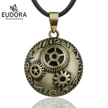 Eudora 20mm Copper Time Gear Style Mexican Bell Harmony Bola Ball Pendant Necklace for Pregnancy Women Vintage fine Jewelry B335