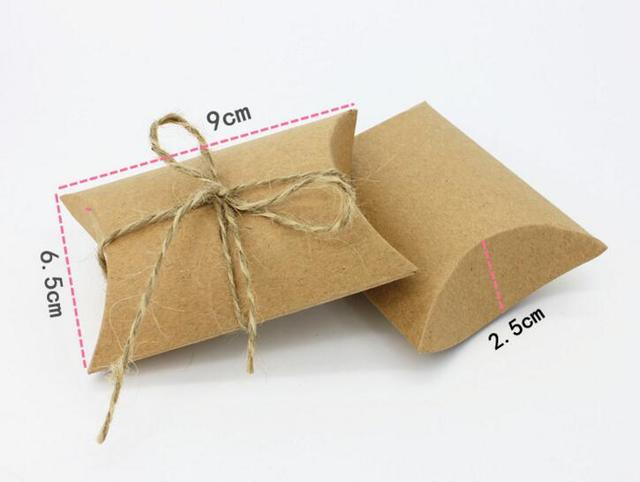 Us 20 3 10 Off Aliexpress Com Buy 100pcs Small Kraft Cardboard Gift Boxes Cheap Candy Pillow Boxes Wholesale Kraft Brown Pillow Paper Box From
