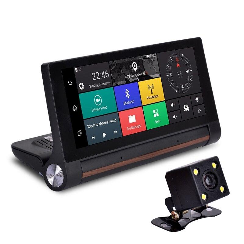 3G samochód lusterko wsteczne nawigacja GPS 7.0 cal Android 5.0 Bluetooth WiFi dashboard DVR FHD 1080P Dash Cam podwójny obiektyw kamera DVR