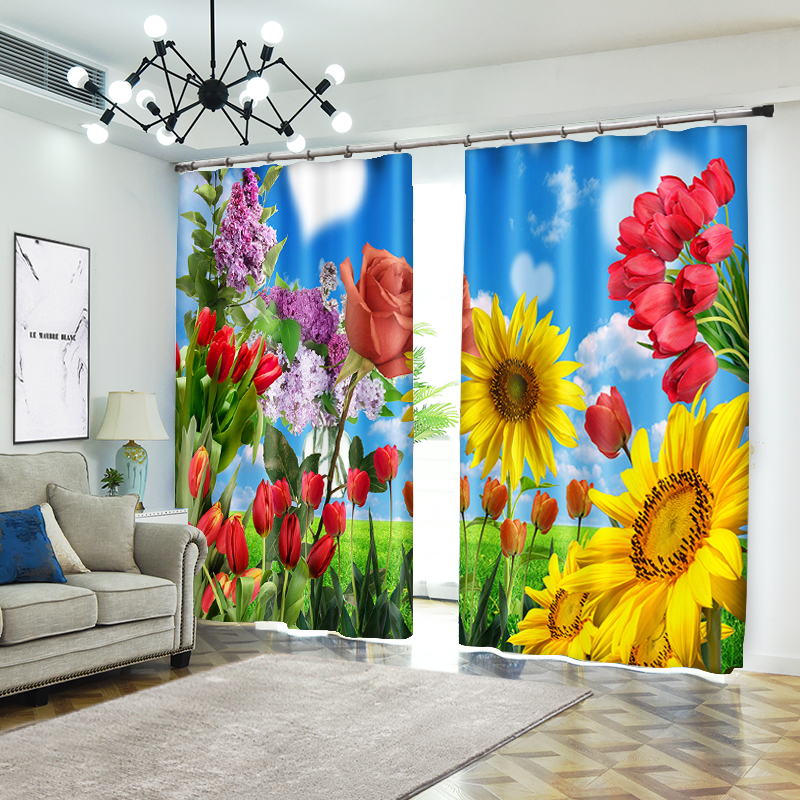 Hundred Flowers Bloom 3D Curtains for Living Room Window Treatments Modern Curtains Beding Room High-precision Shade