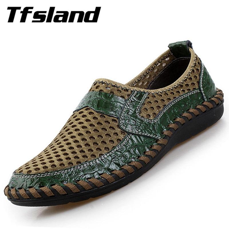 Tfsland män Nya sommar Andas Mesh Skor Beach Äkta Läder Skor Slip On Sneakers Mjuka Bekväma Aqua Skor Sandaler