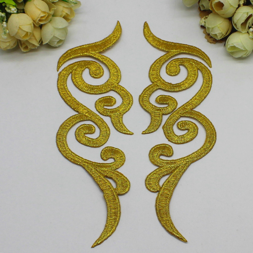 Željezo na aplicirke 10 parova Zlato izvezeno presvlake DIY Cosplay - Umjetnost, obrt i šivanje - Foto 2