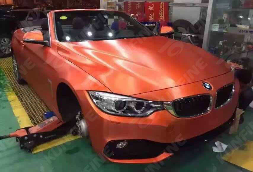 Car Styling Wrap Cold Brushed Orange Car Vinyl Film Body