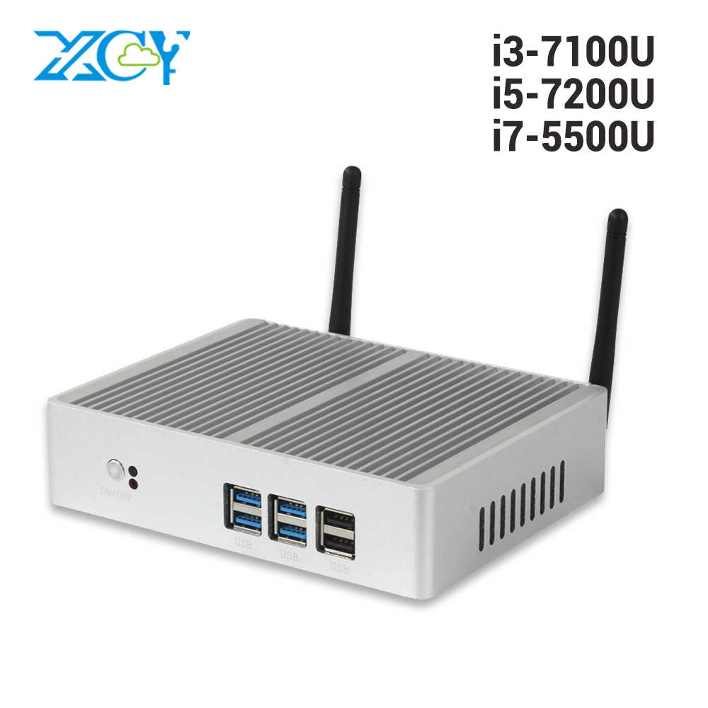 Descuento sin ventilador Mini PC Windows 10 Core i7 i3 7100U i5 7200U 4K HD Mini computadora DDR3L 2,40 GHz HTPC WiFi HDMI VGA minipc