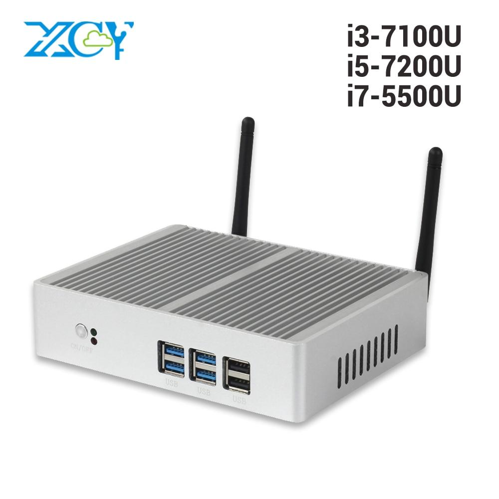 Discount Fanless Mini PC Windows 10 Core I7 I3 7100U I5 7200U 4K HD Mini Computer DDR3L 2.40GHz HTPC WiFi HDMI VGA Minipc
