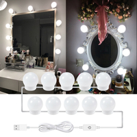 Makeup Mirror Light Hollywood Mirror Front Light String 6 10 14LED Bulb USB Charging Dimmable Bathroom Dressing Table Lamp