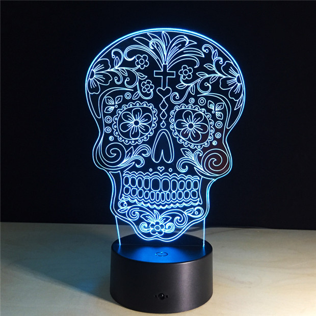 7 COLORS CHANGE 3D SUGAR SKULL LED LAMP (8 VARIAN)