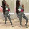 2016 Новый Забавный Мороженое Печатные Женщины толстовки Повседневная BTS Толстовка Плюшевые Мяч С Длинным Рукавом Блузки Рубашки Длинные Брюки Наряд