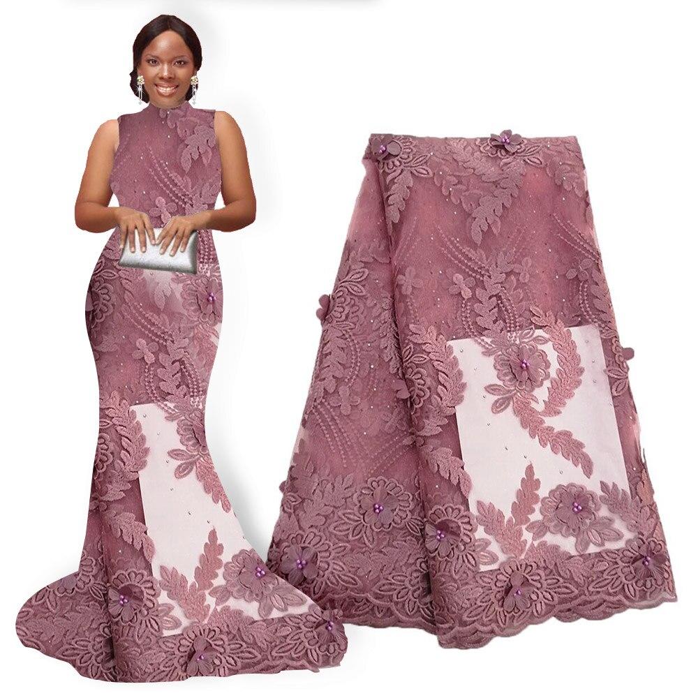Tela de encaje de flores africanas tela de encaje de Nigeria bordado con cuentas Flor de encaje africano tela de flores 3D 5 yardas para fiesta de boda-in encaje from Hogar y Mascotas    2