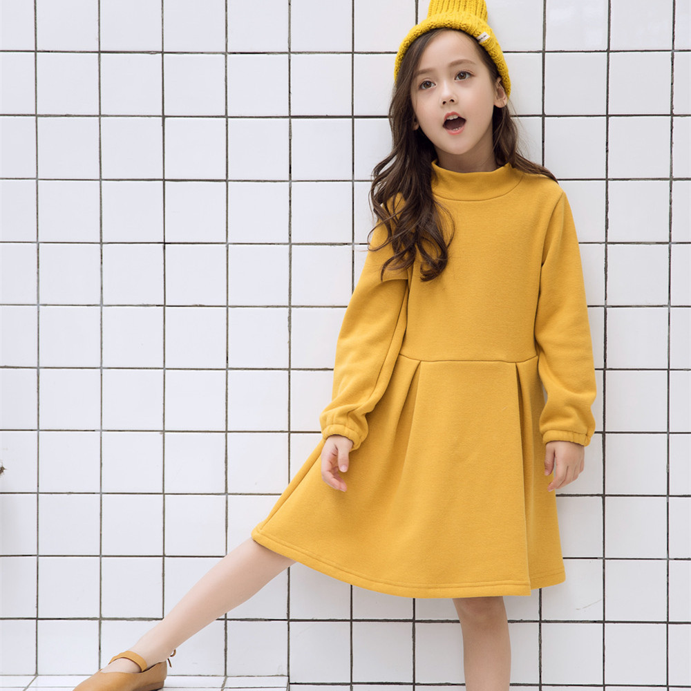 2018 New Baby Girls Autumn Winter Dress Long Sleeve Thick Velvet Dress Kids School Casual Solid Color Turtleneck Fashion Dresses fatika fashion 2017 women autumn winter sweater dresses slim turtleneck sexy bodycon solid color robe knitted dress