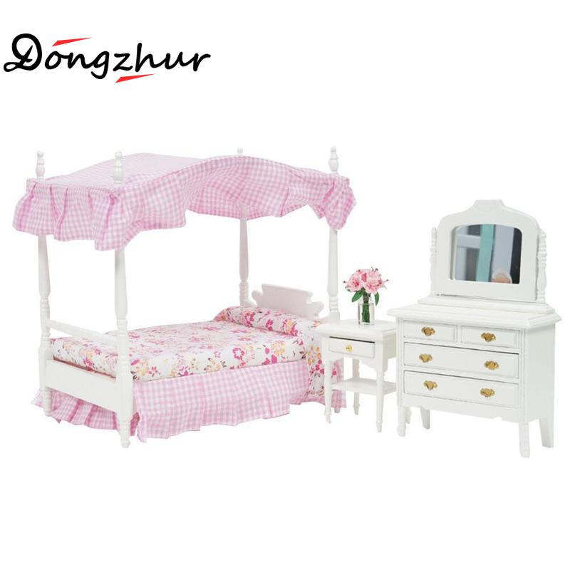 Dongzhur Doll House Miniaturas 1:12 Model Dollhouse DIY Dollhouse Mini Pink Bed Dresser Chair Princess Bedroom Furniture Sets цена и фото