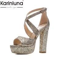 Karinluna/2018 г. брендовая обувь; женские туфли плюс Размеры 33-43 летние золотого и серебряного цвета женская обувь сандалии обувь на платформе бос...