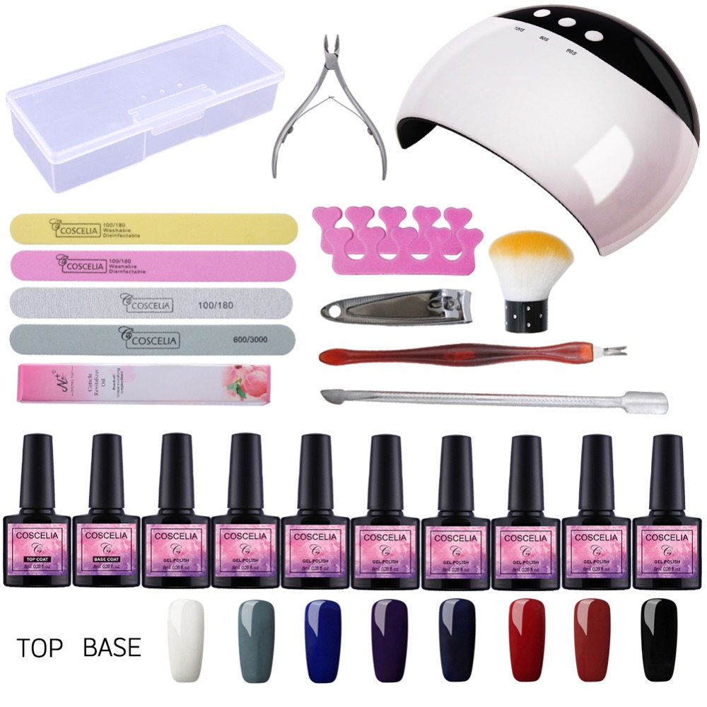 Nail Art Pro DIY Full Set Soak Off Uv Gel Polish Manicure Set 24W Curing Lamp Kit Any 8 Colors&Base Top Set Nail Gel Nail Tools nail art salon supplies kit tool uv gel nail polish diy makeup full set manicure set free shipping