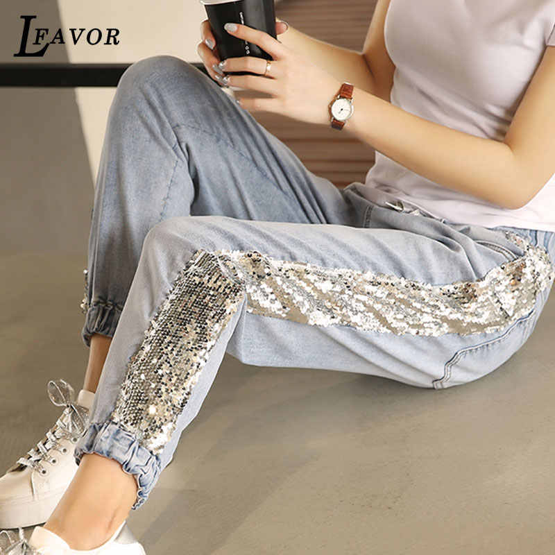 2019 Spring New Personality Sequins Black Ladies Jeans Beam Pants Elastic Waist Elastic Loose Harem Pants Women pantalon femme 5