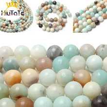 Naturalne kolorowe amazonit kamień koraliki okrągłe luźne koraliki modułowe dla DIY tworzenia biżuterii bransoletki naszyjnik 15 cali 4/6/ 8/10/12mm