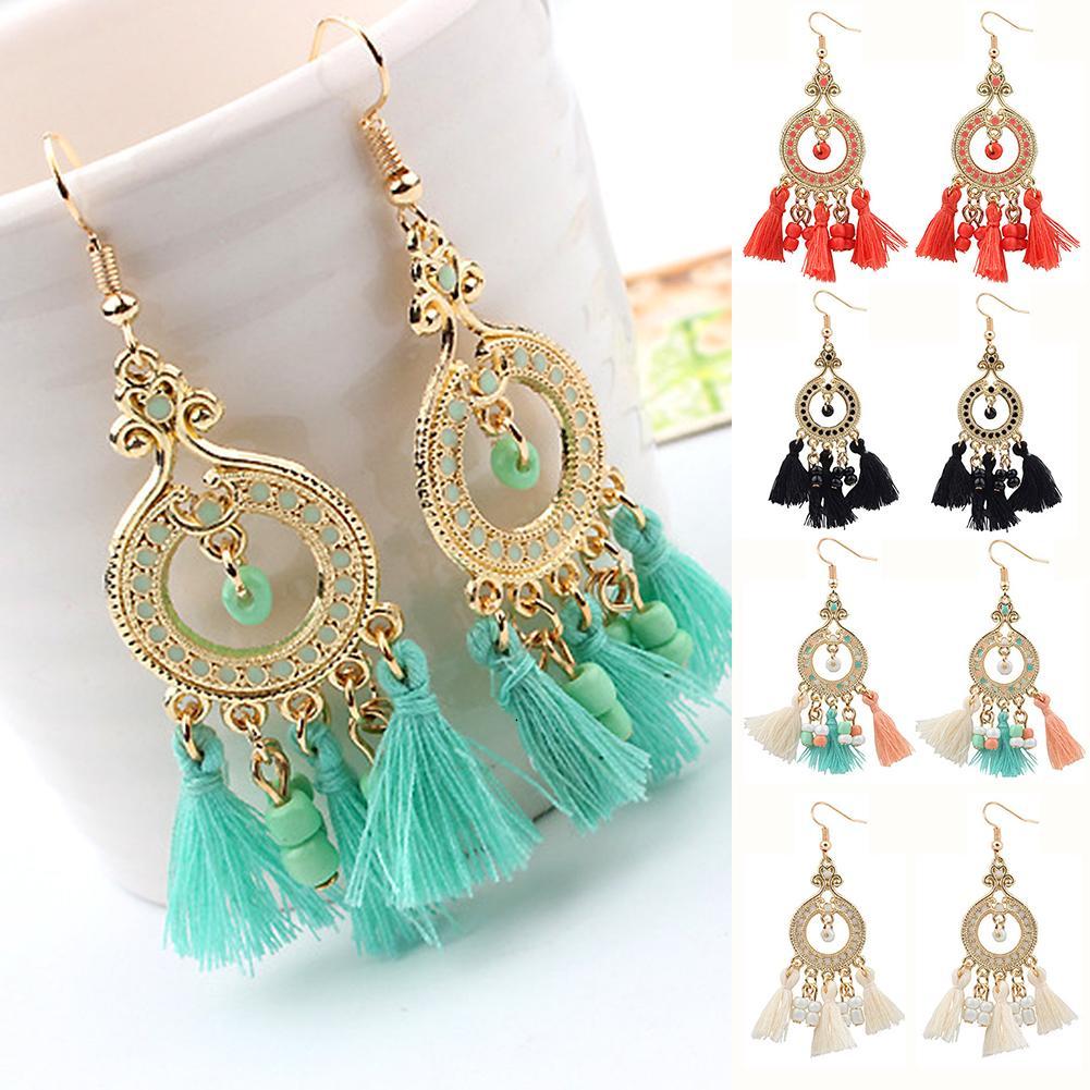 Vintage Womens Boho Multi Color Rheinstones Bead Chain Dangle Drop Hook Earrings