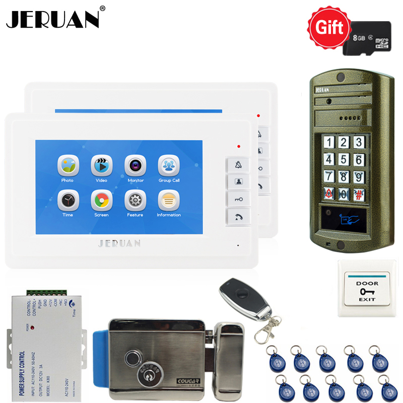 JERUAN 7`` Video Doorbell Voice/Video Recording Intercom System kit 2 monitors + Waterproof password Access Mini Camera +E-lock