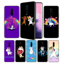 UNICORN cartoon funny Horse Soft Black Silicone Case Cover for OnePlus 6 6T 7 Pro 5G Ultra-thin TPU Phone Back Protective