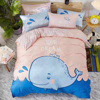 Cartoon Dolphin Alpaca Children's Bedding Set Cotton 3/4pcs Include Duvet Cover Sheet Pillowcase 1.2/1.5/1.8 Boy/Gril Room Decor