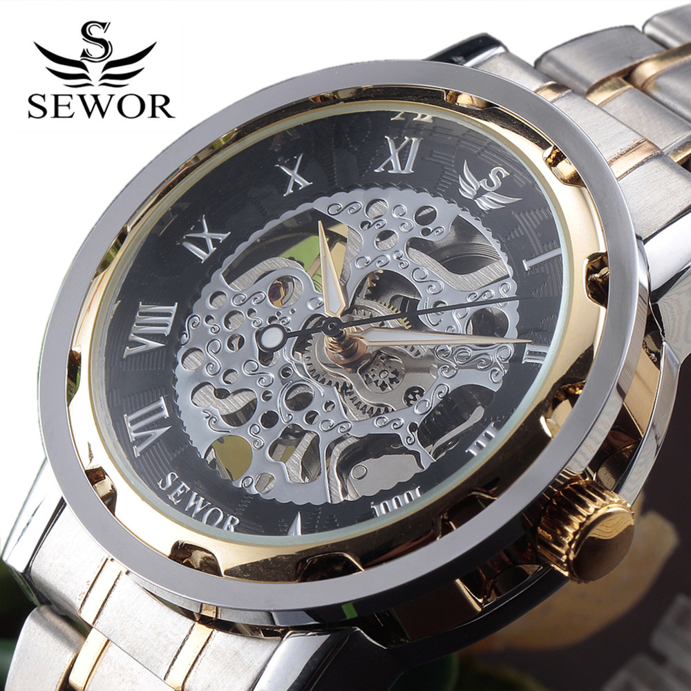 SEWOR Gold Men Skeleton Mechanical Watch Stainless Steel Hand Wind Watches For Men Transparent Steampunk Montre Homme Wristwatch ks black skeleton gun tone roman hollow mechanical pocket watch men vintage hand wind clock fobs watches long chain gift ksp069