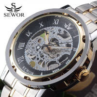 SEWOR Gold Men Skeleton Mechanical Watch Stainless Steel Hand Wind Watches For Men Transparent Steampunk Montre