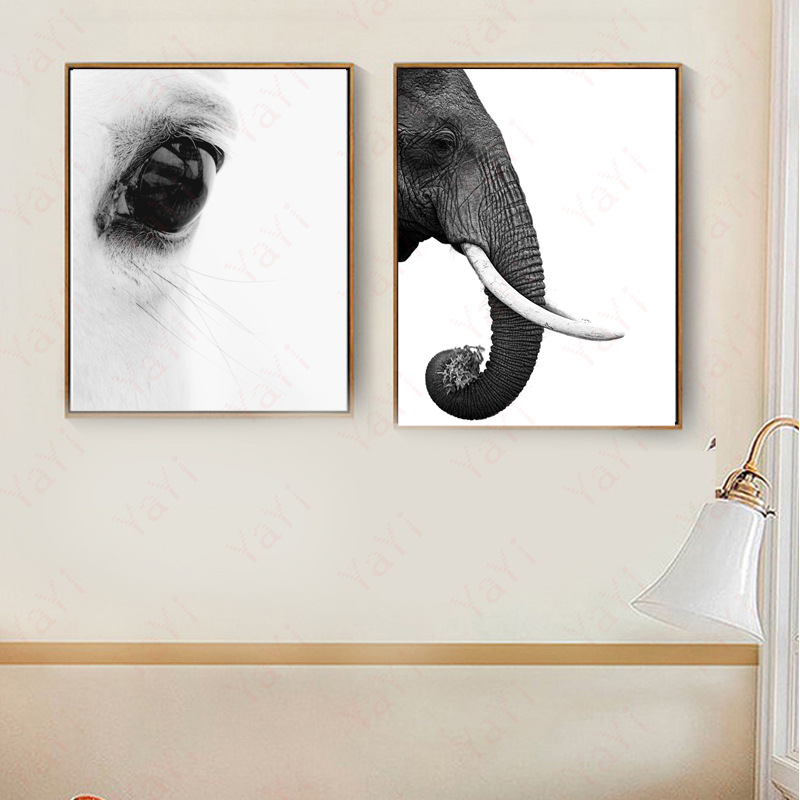 HAOCHU New elephant animal beautiful eyes ecology natural home decoration canvas painting living room poster wall art picture african elephant