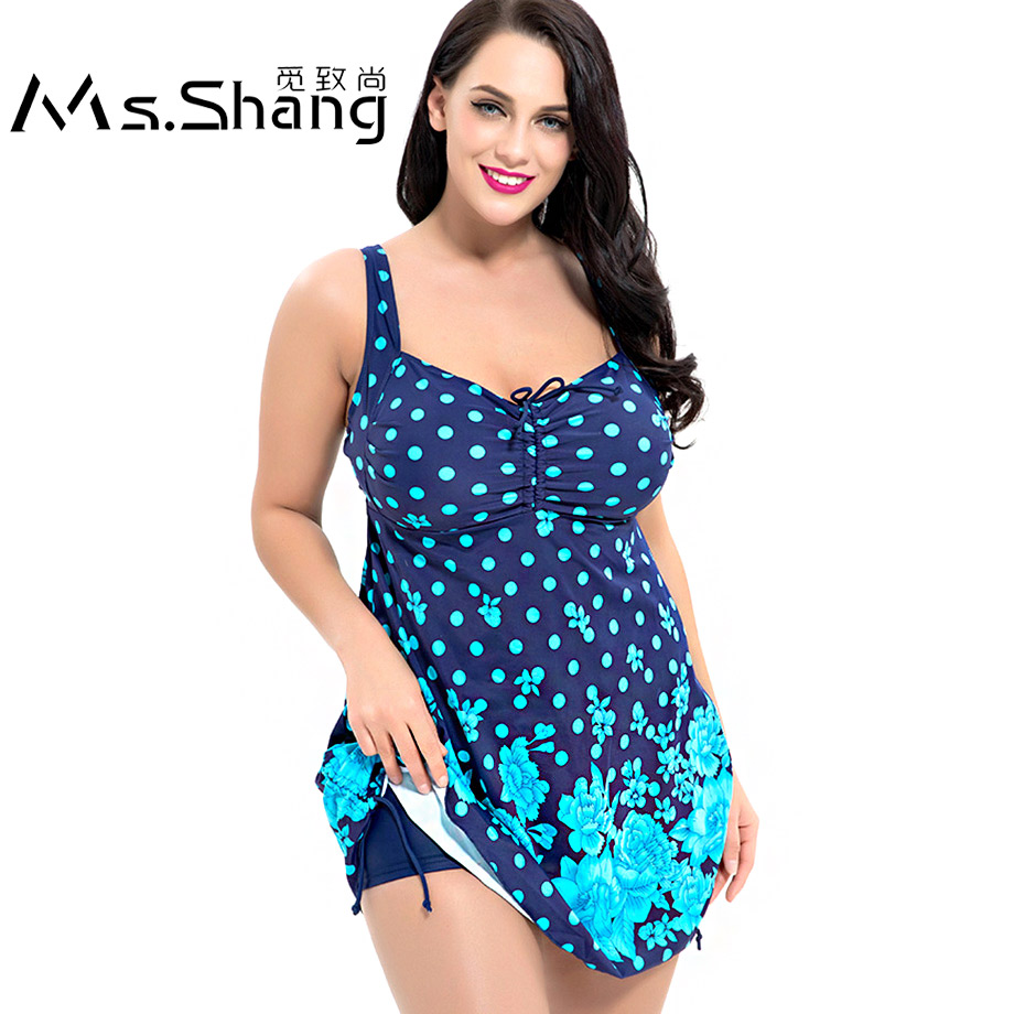 все цены на Ms.Shang Polka Dot Plus Size Swimwear Women 2019 Two Piece Swimsuit Women Printed Tankini Large Size Swimming Bathing Suit 13XL