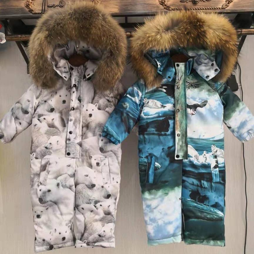 Children s Down Jacket Winter Hooded Snow Wear Warm Outerwear Real Raccoon Dog Fur Collar Modis