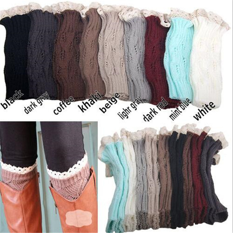 Europe and America Style Leg Warmers Lace Calentadores Piernas Mujer Knitting Rhombus Leaf Women Gaiters Lady Beenwarmers Socks ...