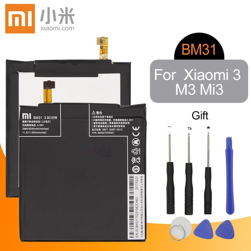 Xiao Mi BM31 Original Replacement Phone Battery 2910mAh High Capacity For Xiaomi 3 M3 Mi3 + Free Tools