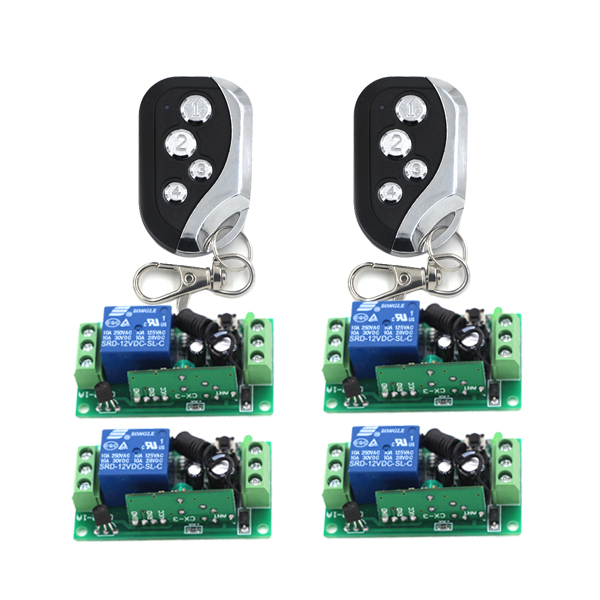 Digital 12V 1 Channel Learn Code RF Gate Garage Door Remote Control Switch 2 Transmitter and 4 Receiver SKU: 5398