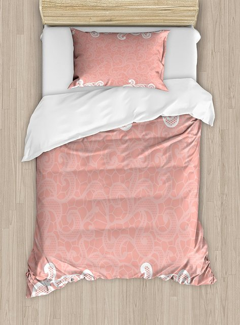 Peach Duvet Cover Set Lace Design On Soft Colored Background