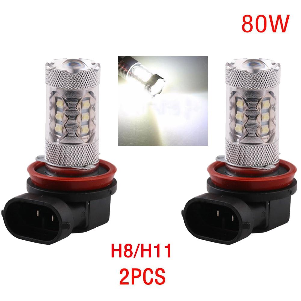 2pcs 80W LED Light Bulb H8/H11 9006 9005 H7 H4 H3 H1 2828 SMD CREE Super Bright LED Headlight Fog DRL Lamp Bulb 12V