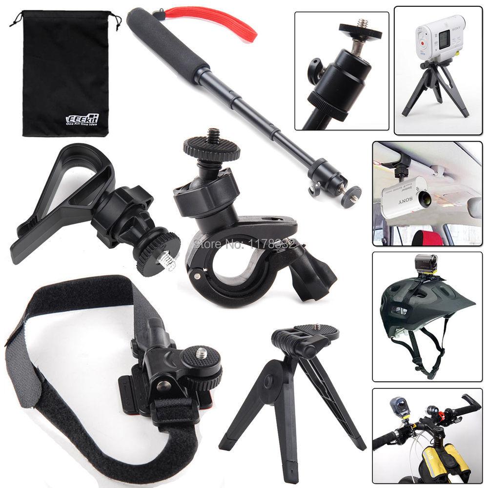 Bike/Helmet/Tripod Moun t+ Monopod + Car Sun Visor Mount for S Action Cam HDR-AS15/20/30V/100V