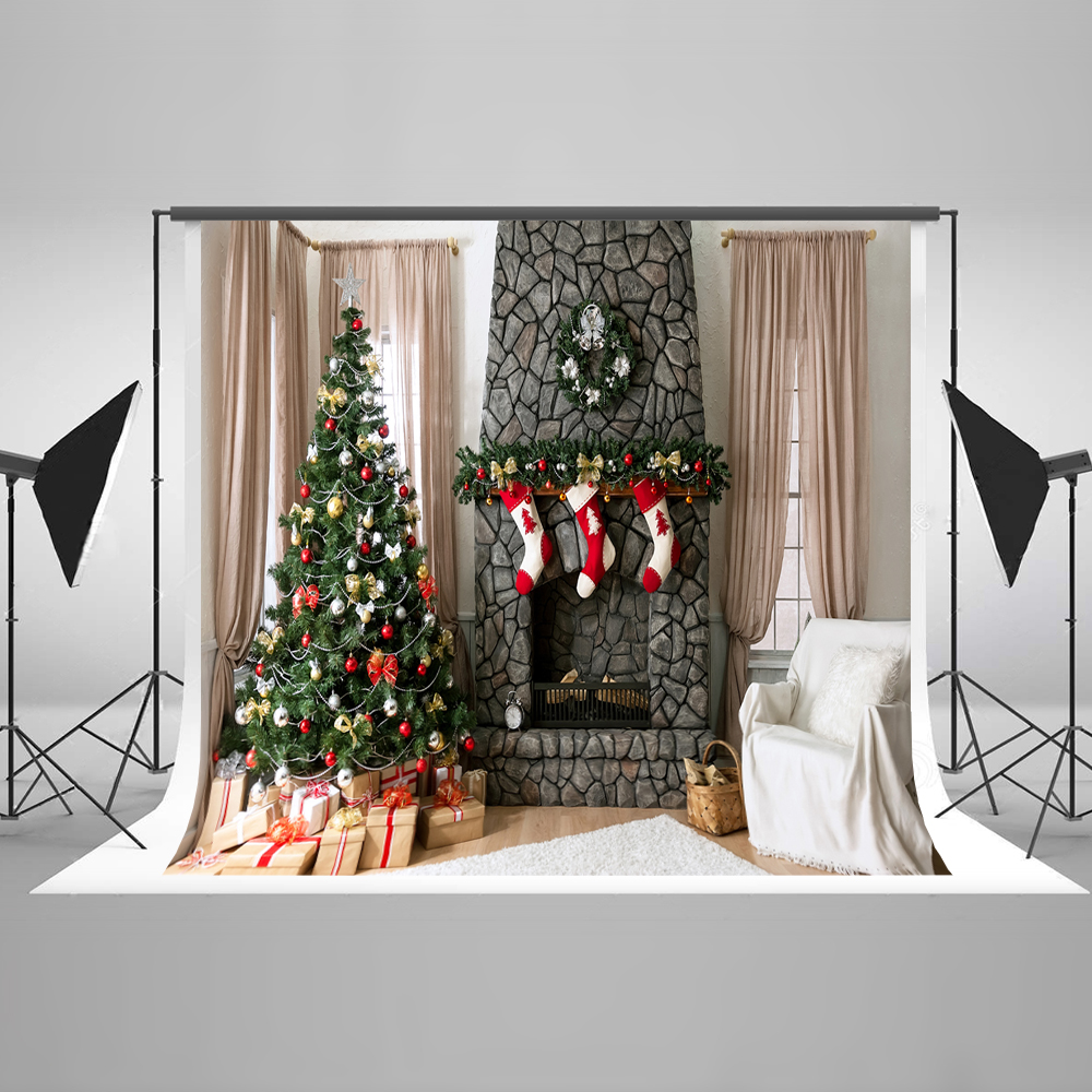 Kate 7x5 X-mas Fotografia Professional Backdrop Christmas Tree Fireplace Scok Photography Background Foto for Fond Studio Photos