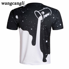 The stars are pouring milk Tops 3D print Men Tees Compression Fitness T-shirts 2017 Milk pattern printing Summer Top T shirts