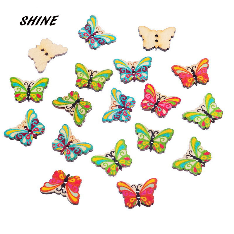 ᐃShine madera Costura Botones scrapbooking mariposa patrón mezclado ...