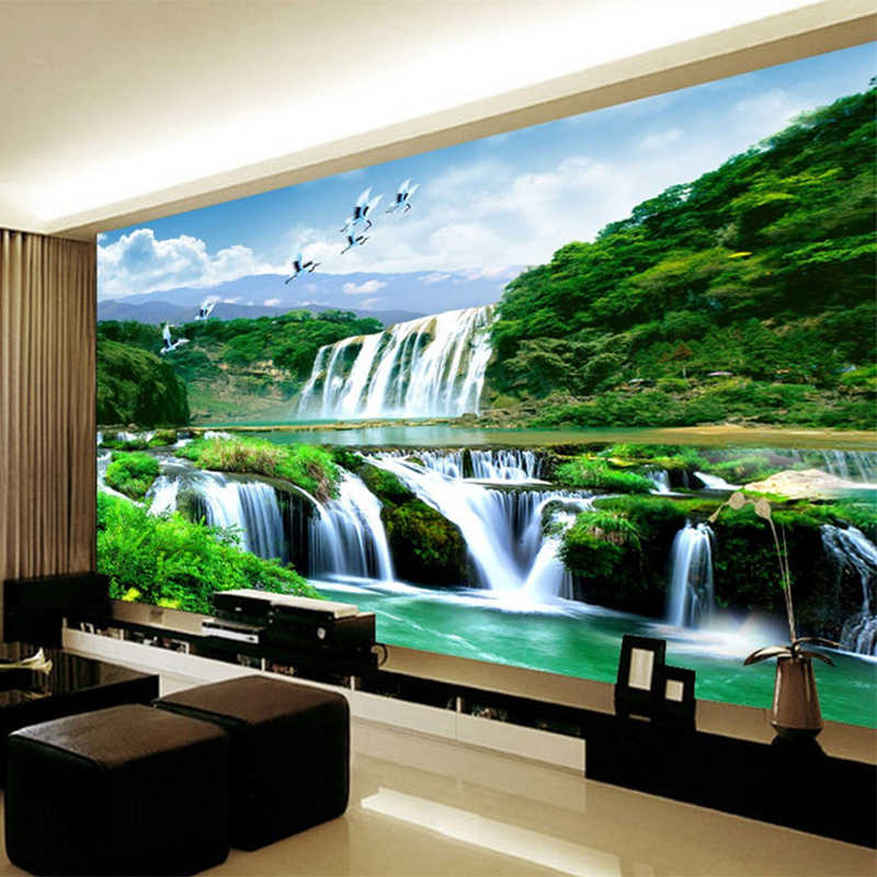 HD Chinese Style Waterfall Landscape Nature Mural Photo Wallpaper Living Room Study Non-Woven Eco-Friendly Wall Covering Murals