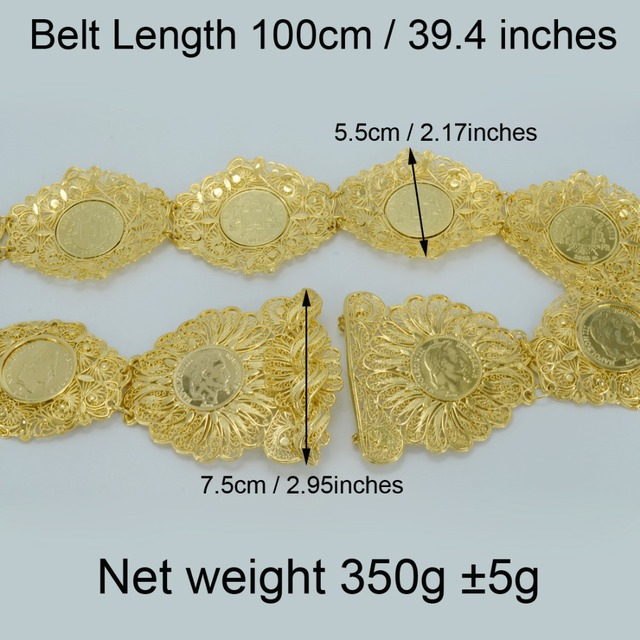 Length 100CM,Napoleon Coin Belt for Women Gold Plated New Arab Coins Jewelry Middle East/Turkey/Egypt/Iraq/Iran/Kurdish #010712