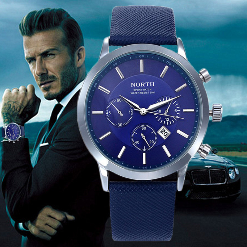 2018 Mens Watches NORTH Brand Luxury Casual Military Quartz Sports Wristwatch Leather Strap Male Clock watch relogio masculino