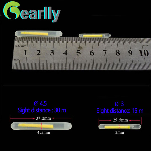 Gearlly brand Fishing luminous sticks Fluorescent Light sticks long time glowing two size 4.5mm and 3 mm optional