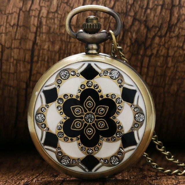 2016 Vintage Retro Flower Bronze Quartz Pendant Fob Pocket Watch With Necklace C