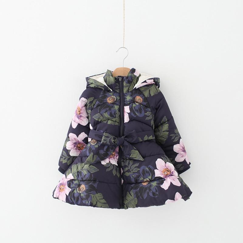 2017 New Brands Fashion Autumn Winter Flowers Hooded Girls Outerwear&Jacket Kids Belt Pretty Girls Zipper Floral Top Down&Parkas